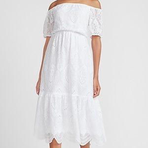 Express Eyelet Lace Off the Shoulder Midi Dress
